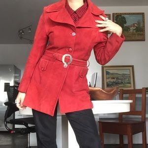 Vintage 1960s Leather Suede Red Trench Coat